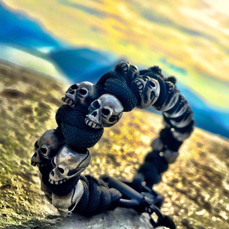 "skull bracelet, mens skull bracelet, skull jewelry  @para_dime on Instagram: ""Skull Squad enjoying the sunset """