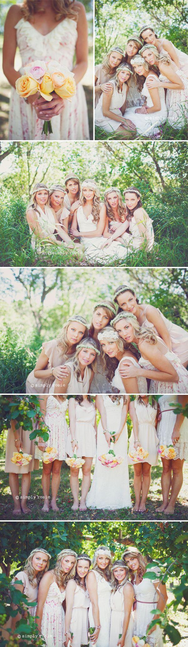 Pretty bridal party... I wish more ppl did bm dresses like this!