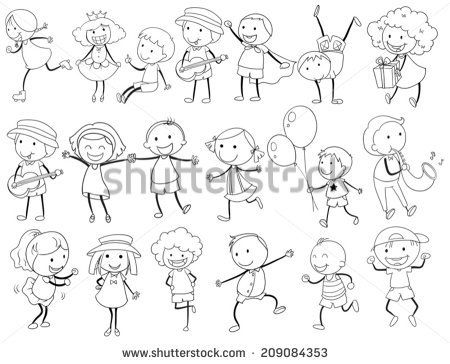 Illustration of simple kid doodle actions