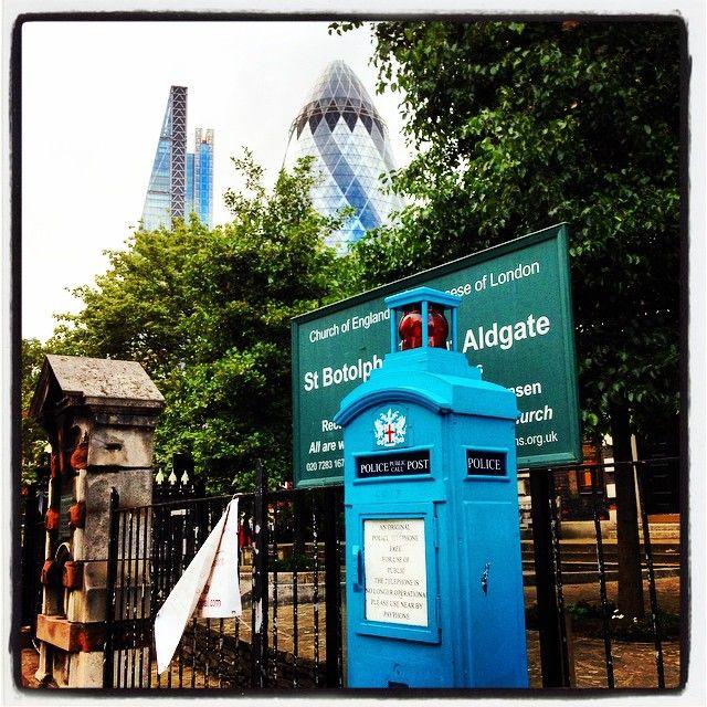 #TheGherkin and #DrWho looking Police phone thing #Aldgate #LiverpoolStreet Get the #Kooky #London #App http://bit.ly/11XgicP #ig_London #igLondon #London_only #UK #England #English #GreatBritain #British #iPhone #quirky #odd #weird #photoftheday #photography #picoftheday #igerslondon #londonpop #lovelondon #timeoutlondon #instalondon #londonslovinit #mylondon #Padgram