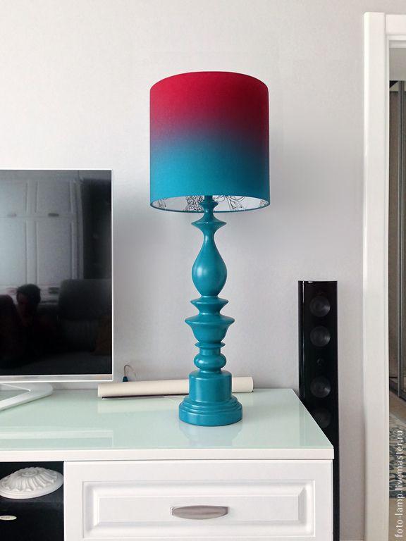 Купить Большая бирюзовая лампа - от дизайнера, дизайнерская работа, fotolamp, diy, стильный подарок