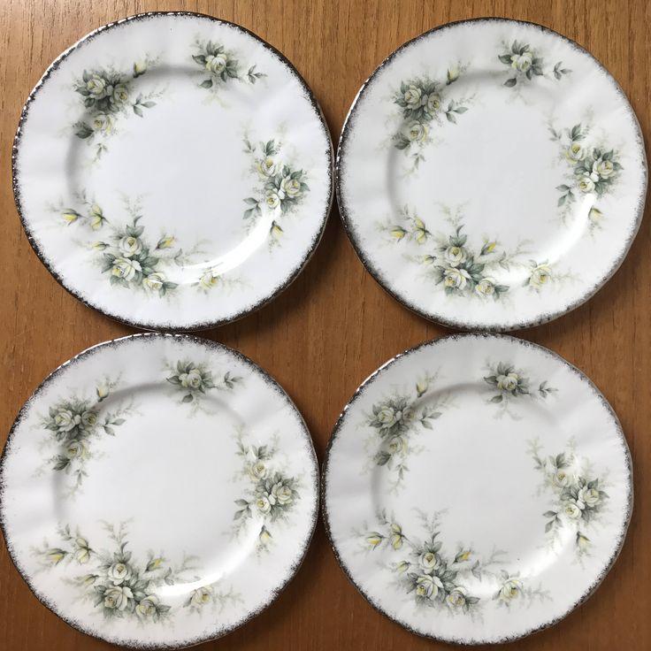 "Wedding Gift China: Paragon White Roses ""First Love"" Vintage Side Plates, Bone"