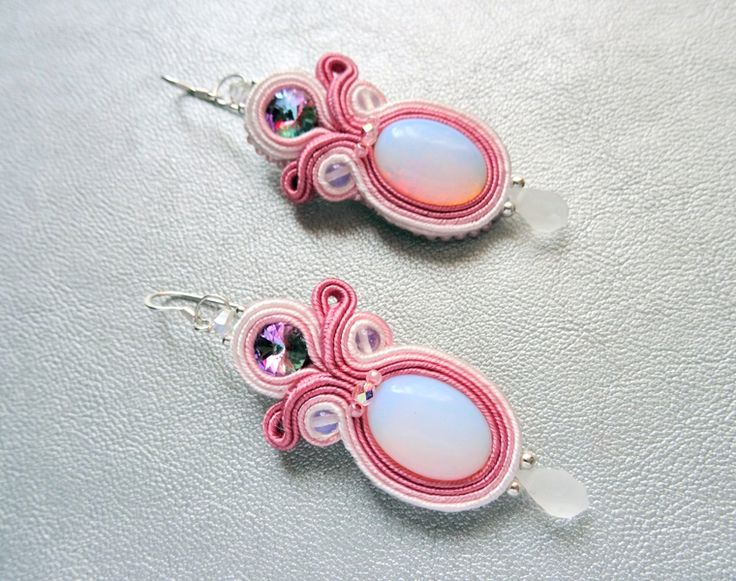 Soft Sunset 01 - soutache earrings with opalite in VAKARAS Jewellery by Slomkad na DaWanda.com