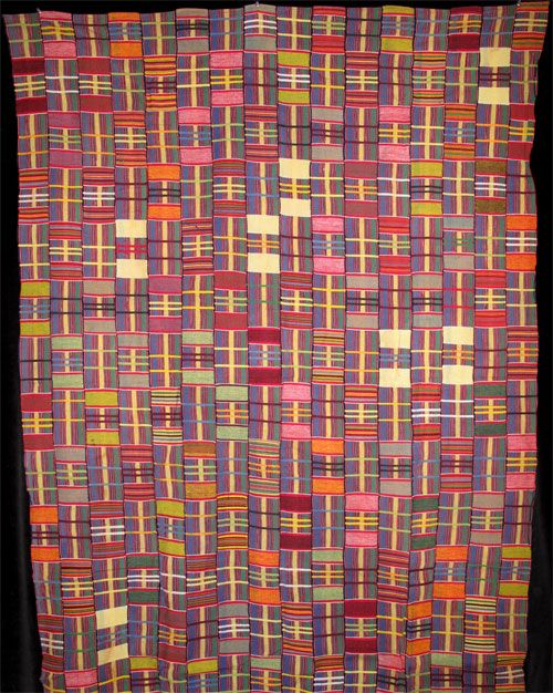 "Ewe Kente Cloth ""woman's wrap"" Ewe people, Ghana, mid-20th cent.  16-strip cotton kente cloth. Indigo Arts Gallery."
