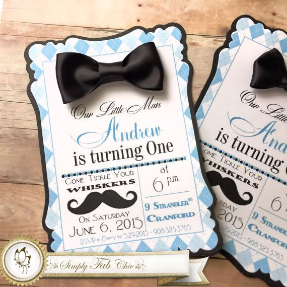 Little Man Mustache Bow Tie 1st Birthday / Baby Shower Personalized Custom Handmade Invitation