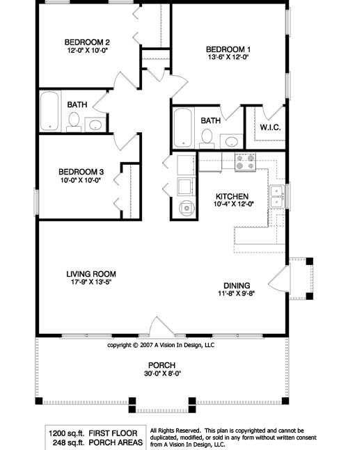 1950's Three Bedroom Ranch Floor Plans | Small Ranch House Plan, Small Ranch House Floorplan, Small Single: