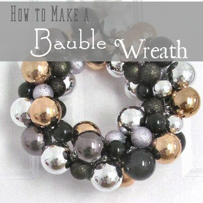How to make a Christmas wreath from baubles and a wire hanger.
