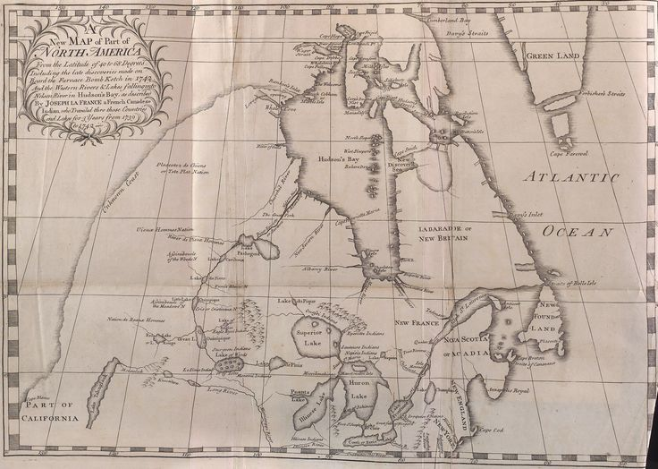 A New Map of Part of North America by Arthur Dobbs and Joseph La France (1744). #cartography #cdnhistory