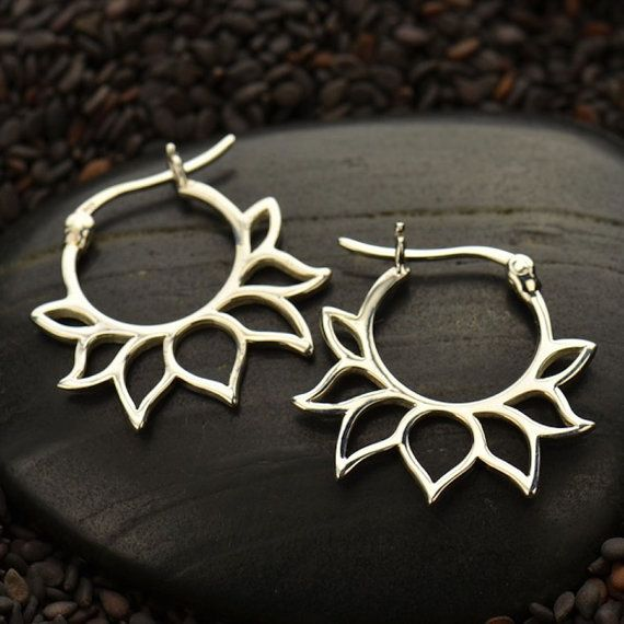 Yoga Jewelry 925 Sterling Silver Hoop Latch Earrings Large Lotus Flower Petal Inset Geometric Design Zen
