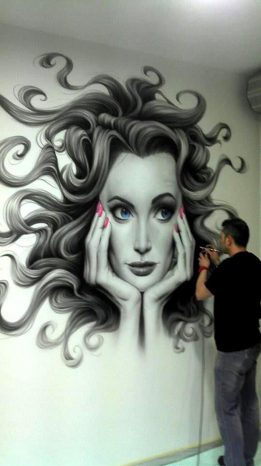 JUANJO BARON - the skill is insane. I don't think I could do this with a paintbrush let alone a spray paint gun!