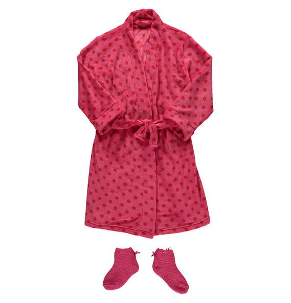manguun Bademantel mit Socken PinkDots