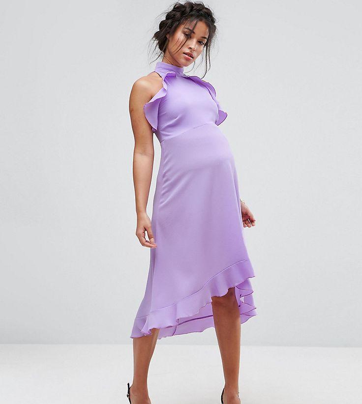 Queen Bee Wrap Ruffle Detail High Neck Midi Dress - Purple