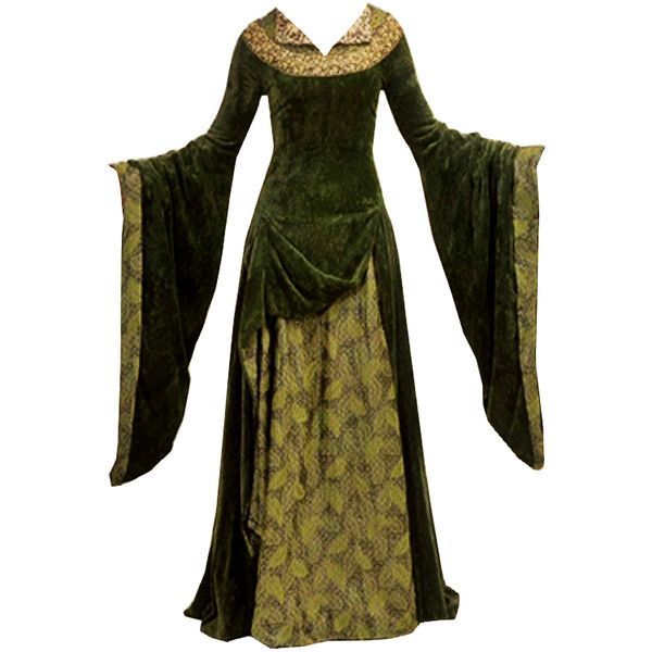 Eowyn Green Dress LOTR ❤ liked on Polyvore featuring dresses, gowns, medieval and costumes