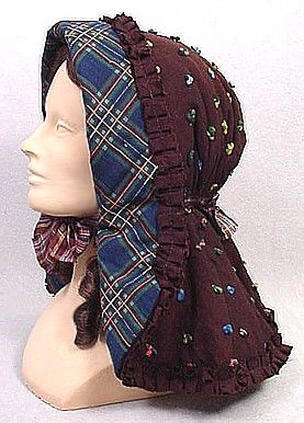 civil war winter hood - ok, so mine isn't this colorful, but I'll add a bow and aspire to this!