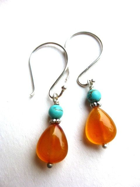Orange agate, turquiose gemstone small dangle earrings. Sterling