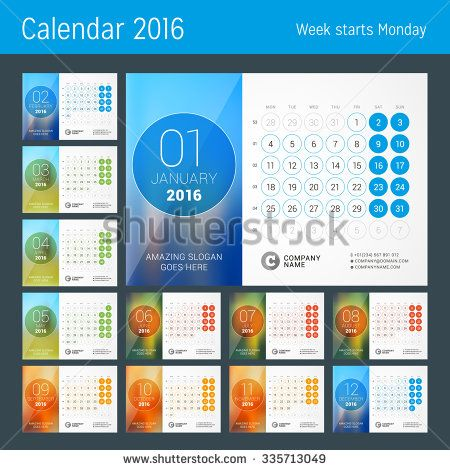 Desk Calendar for 2016 Year. Vector Design Print Template with Place for Photo…