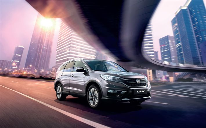 Download wallpapers Honda CR-V, 4k, street, 2018 cars, road, new CR-V, Honda