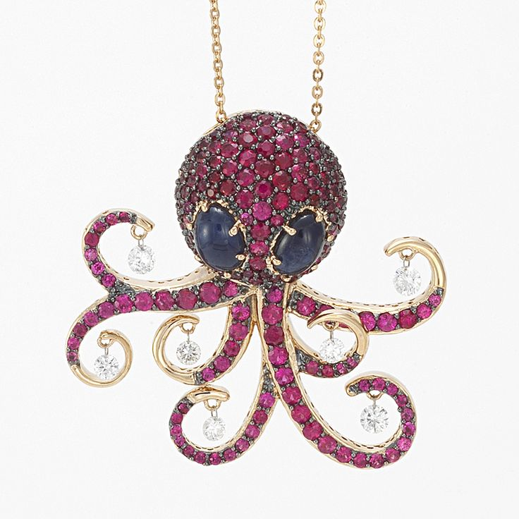 octopus necklace in rose gold, diamonds, rubies and sapphires