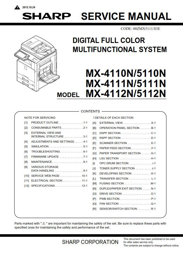 Sharp Mx 4112n 5112n Service Manual And Repair Guide Repair Guide Manual Repair