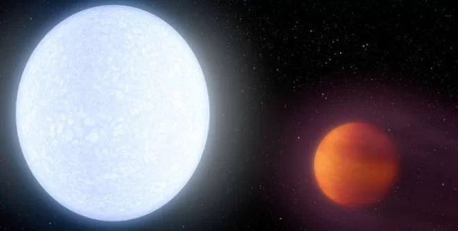 Artist's illustration showing the bright star KELT-9 and its ultrahot planet, KELT-9b. Credit: Robert Hurt/NASA/JPL-Caltech