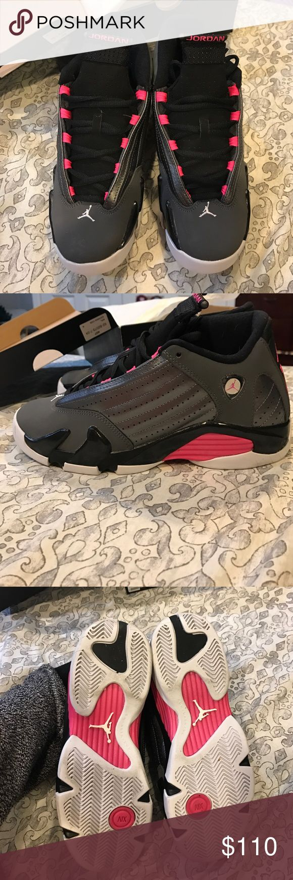 Jordan retro 14 Air Jordan retro 14 grey and pink worn once not visibly in box size 6y Jordan Shoes Sneakers