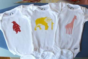 DIY fabric iron on transfers for onesies. My theme today seems to be onesies! =):  T-Shirt, Baby Shower Ideas,  Tees Shirts, Onesie Sconces, Diy Onesie, Onesie Tutorials, Diy Irons On, Animal, Irons On Onesie