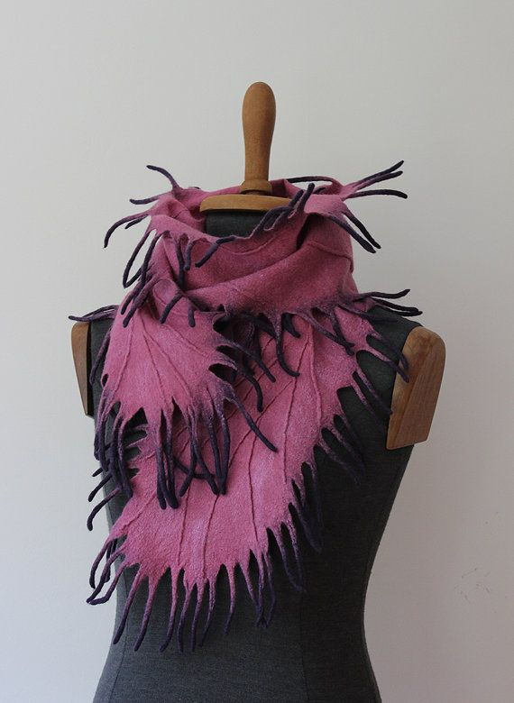 I bring to your attention another glamorous felted winter scarf, made of soft and fine Australian Merino Wool in Shibori technique. The