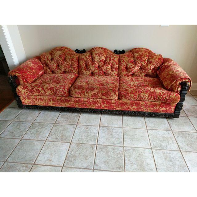 Vintage Kroehler Red Gold Victorian Sofa Image 2 Of 11 Victorian Sofa Sofa Images Furniture