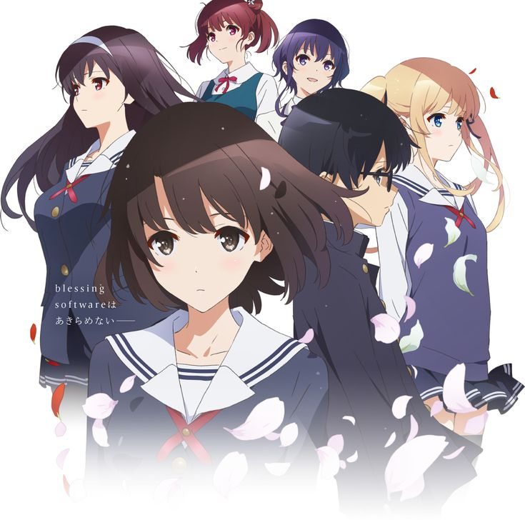 Tags: Official Art, PNG Conversion, A-1 Pictures, Saenai Heroine no Sodatekata, Katou Megumi, Aki Tomoya, Kasumigaoka Utaha, Sawamura Spencer Eriri, Takase Tomoaki, Hashima Izumi, Hyoudou Michiru