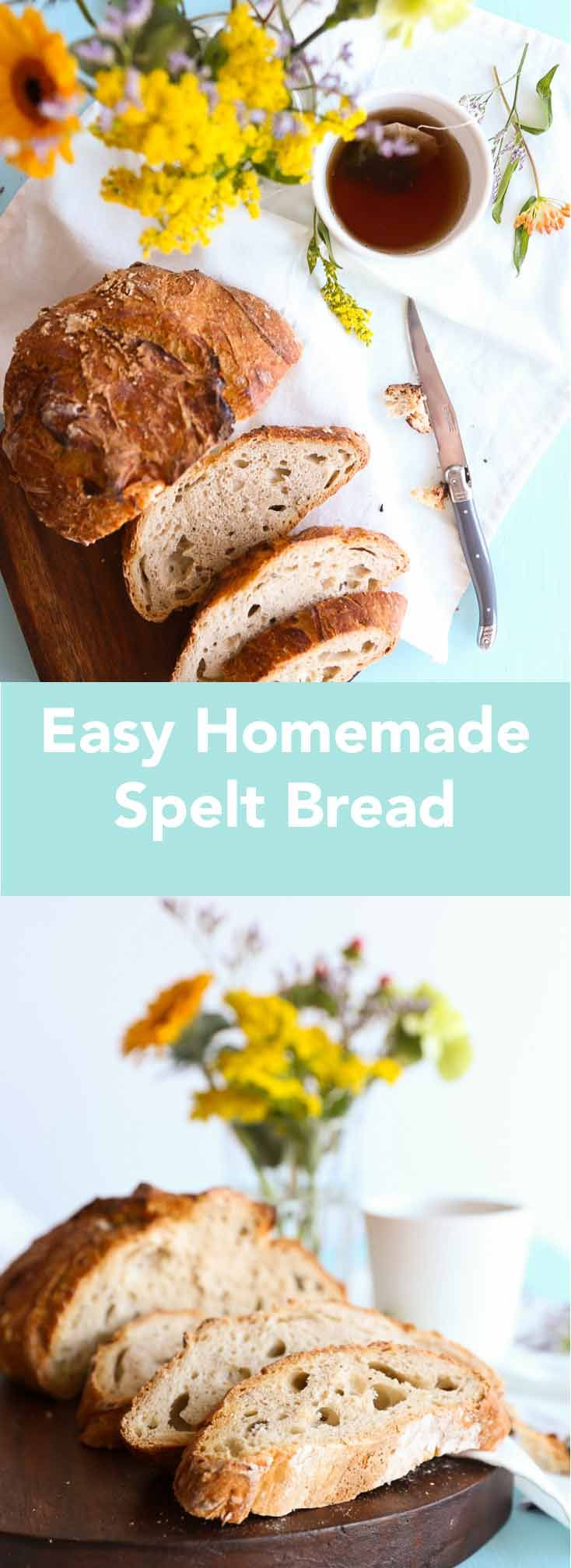 Easy Homemade Spelt Bread. Such an easy way to make your own bread! You don't have to knead, all you need to do is mix the ingredients together and wait. No knead bread made with spelt. By Eva in the Kitchen.
