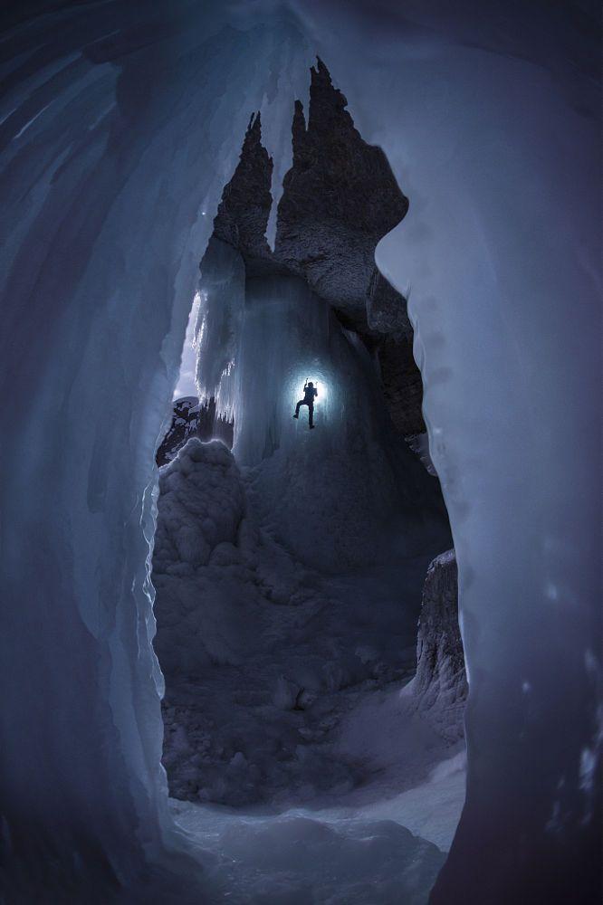Ice climbing at night in Banff National Park, Alberta, Canada. - title Prisoner