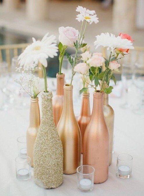Vases de bouteille d'or, vases maîtresses, décoration de mariage, vase à paillettes d'or, décoration de table, or, argent, champagne, or rose, vase à fleurs à paillettes – Events