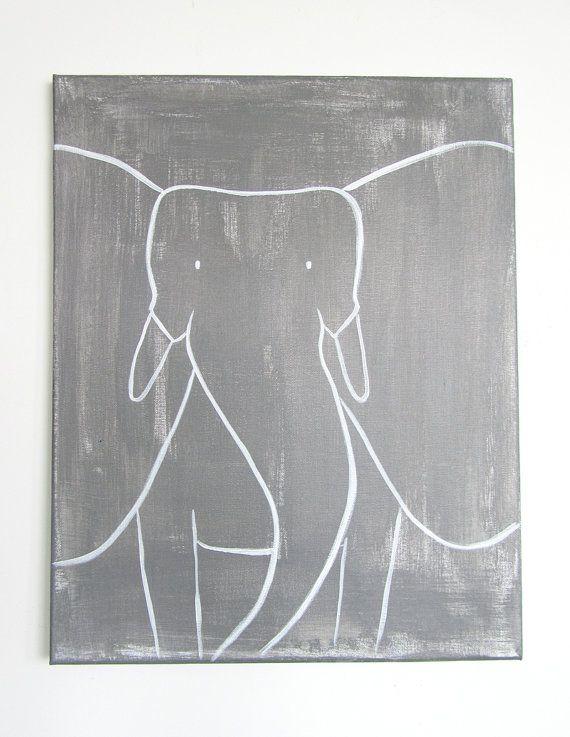 $75: Modern Kids, Elephants Art, Nursery Art, Art Originals, Nurseries Art, Paintings Elephants, Kids Decor, Kids Canvas, 0014 Modern