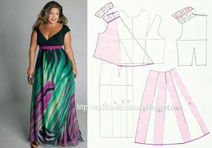 Dress Grading Template - Large Moldes Moda por Medida: TRANSFORMAÇÃO DE VESTIDOS TAMANHOS GRANDES - 8