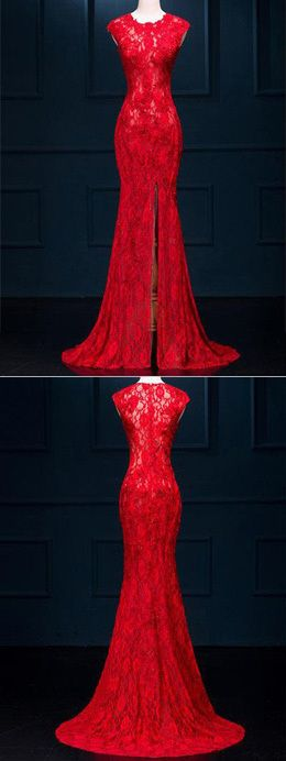 Long See Through Split Mermaid Sexy Red Lace Prom Dresses Evening Dress,316
