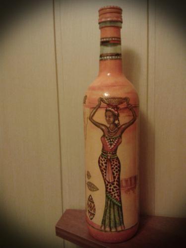 Декупаж - Сайт любителей декупажа - DCPG.RU   бутылочка Африка Click on photo to see more! Нажмите на фото чтобы увидеть больше! decoupage art craft handmade home decor DIY do it yourself bottle