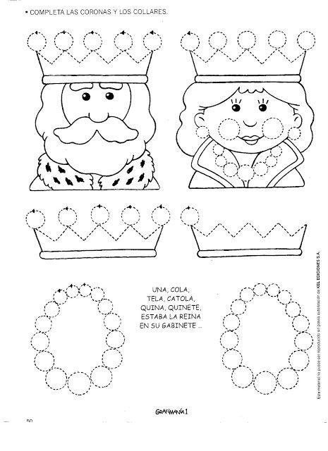 koning en koningin schrijfpatroon voor kleuters