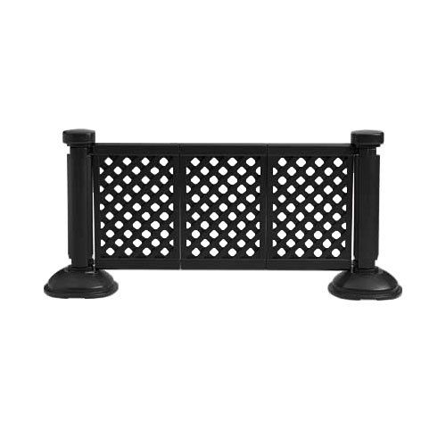 """$120 Grosfillex US963117 3 Panel Resin Patio Fence - Black-Length: 66 1/4"""" (5.5 FT) Height: 38 1/2""""  AROUND GARDEN?"""
