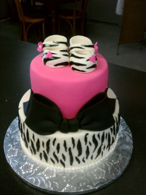 Zebra Baby Shower Cake with baby booties