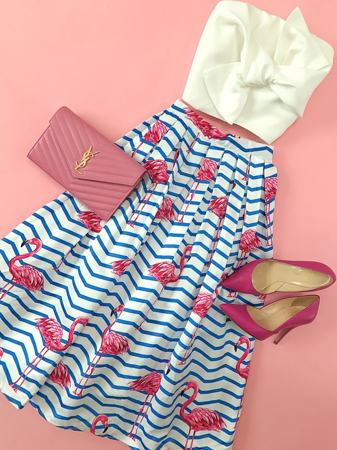Flamingo striped chevron skirt, bow knot top, YSL saint laurent wallet on chain, lottie pink pumps, spring outfit, summer outfit, petite fashion blog - click the photo for outfit details!