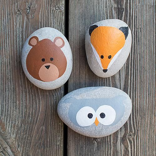 Rock painting with Americana® Multi-Surface Acrylics — Create cute woodland animal rocks with your little ones using Multi-Surface paint!