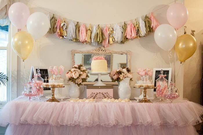 Vintage ornate mirro/pink tulle tablecloth/gold cake stands/tabletop black boards/cake toppers gold pink and white beautiful combination available from mysweeteventhire .com.au