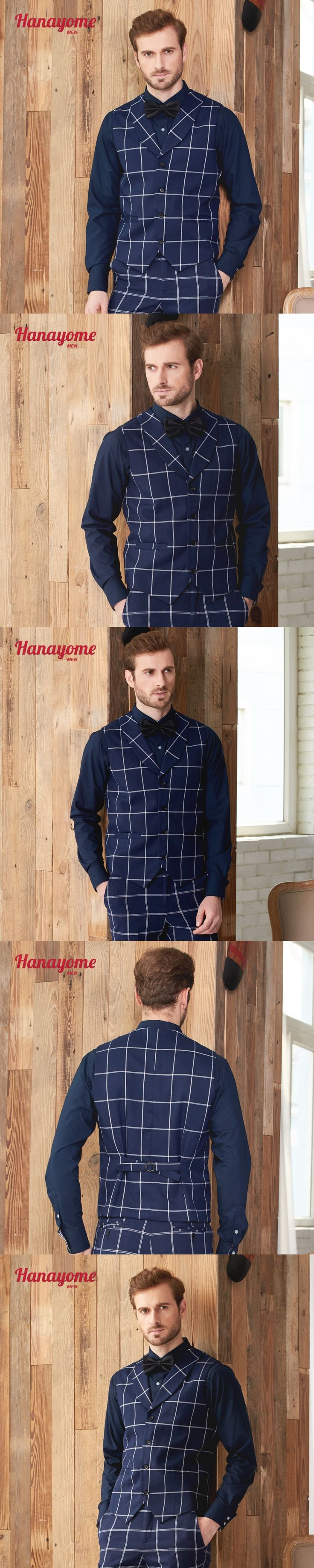 New Arrival Men's Suit Vest Navy Checked Single-Breasted Slim Fit Waist Jacket Adjusted Business Casual Groom Suits vest for Men