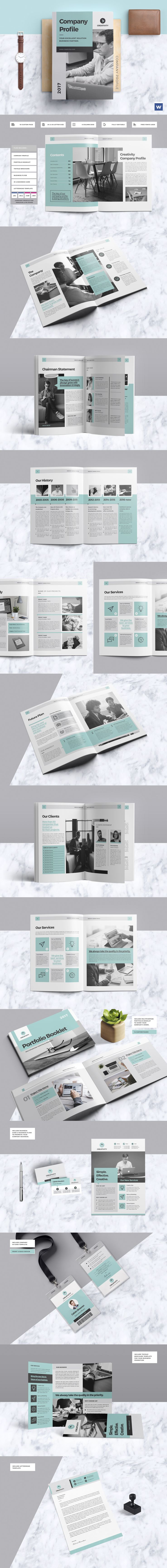 Clean & Professional Company Profile with include Portfolio Booklet, Trifold Brochure, & More