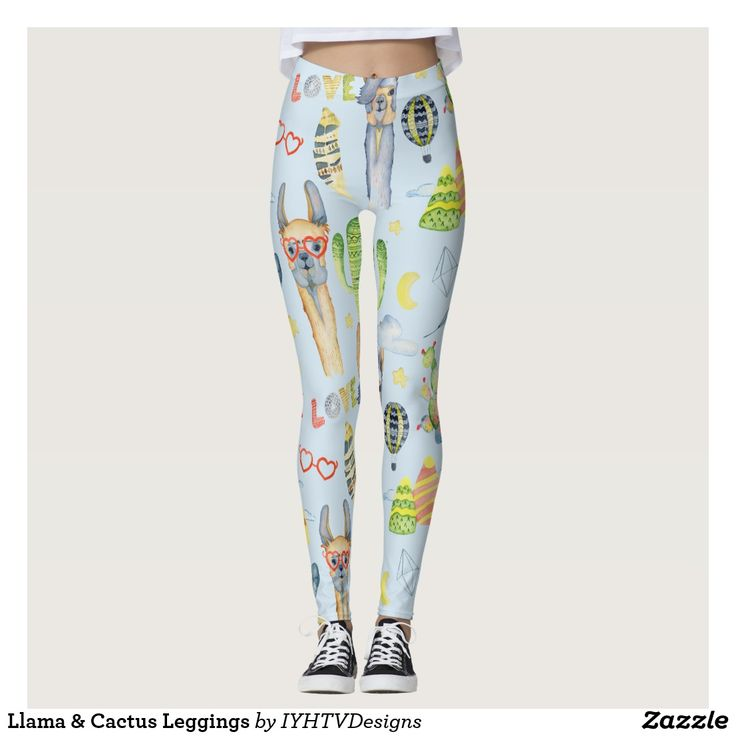 """Llama & Cactus Leggings Express your love of all things fiesta with our whimsical and fun Llama & Cactus print leggings. Add your custom wording to this design by using the """"Edit this design template"""" boxes on the right hand side of the item, or click the blue """"Customize it"""" button to arrange the text, change the fonts and colours and to also add additional information or images to this design. If you need any coordinating items, (thank you cards, etc.) please contact me for a custom order.  ***"""