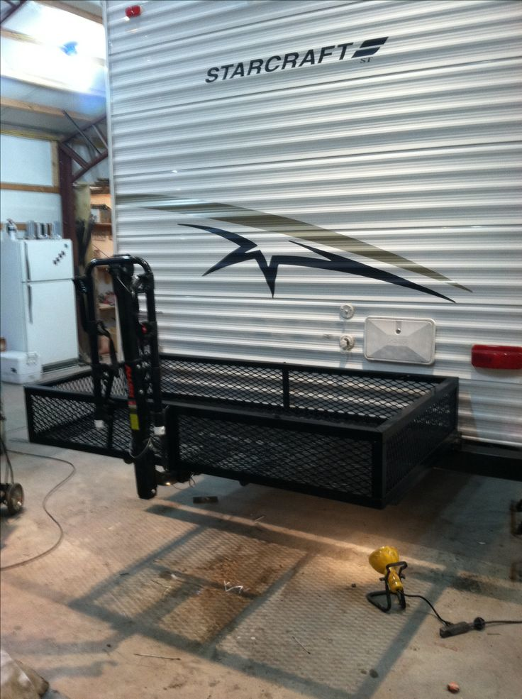 Our diy camper bumper storage bike rack brd 39 s project for Camper storage