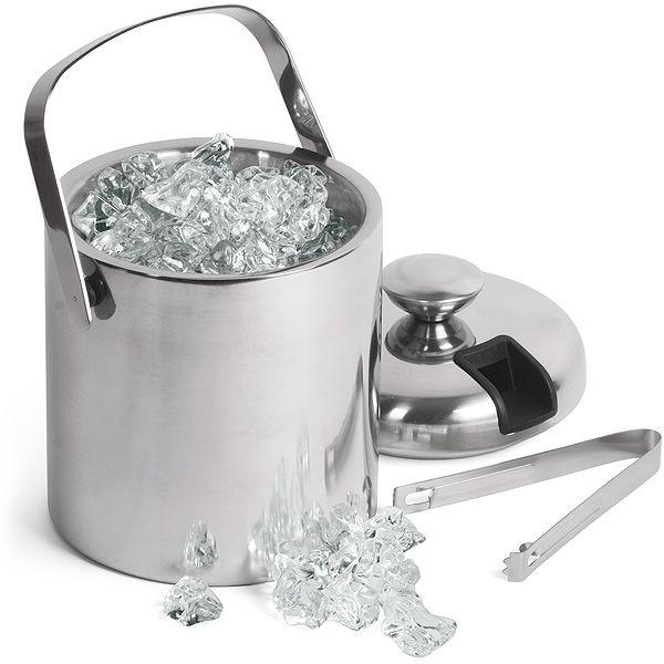 Double Walled Ice Bucket With Tongs Inside Lid