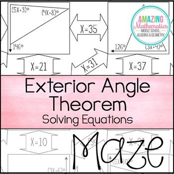 This is a maze of 11 triangles with an exterior angle that students must use the Exterior Angle Theorem and their ability to set up & solve equations to solve for x. This self-checking activity helps students strengthen their skills in solving equations involving the exterior angle theorem.Important InformationNot all boxes are used in the maze to prevent students from just guessing the correct route.