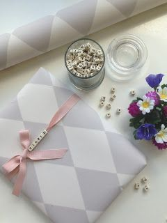 Gift Wrapping and Packaging | String Alphabet Beads on Ribbon for an Instant Gift tag | via Popetotrora