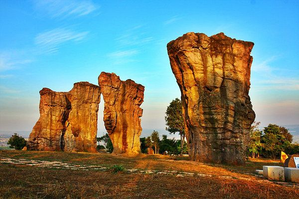 Mor Hin Khao, Phu Lan Kha National Park, Chaiyaphum, Thailand. Mor Hin Khao or Stonehenge of Thailand is consist of gigantic rock columns, white sand stone, siltstone, mud stone and purple sandstone. These rocks are assumed to be over a hundred million years old.